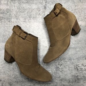 Aquatalia Perforated Tan Brown Suede Booties